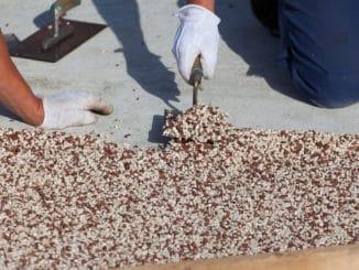 Steinteppich wird verlegt